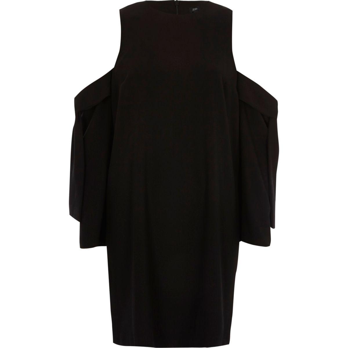 Zwarte schouderloze swingjurk met strik op de mouwen