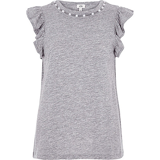 Marl grey faux pearl neck frill tank top