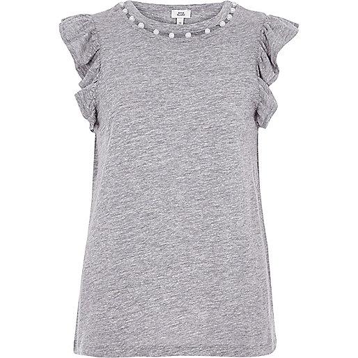 Marl grey faux pearl neck frill tank top