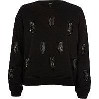 Black sequin tassel embellished sweatshirt