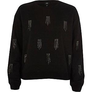Schwarzes Sweatshirt mit Pailletten und Quasten