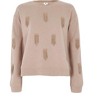 Beige sequin tassel embellished sweatshirt