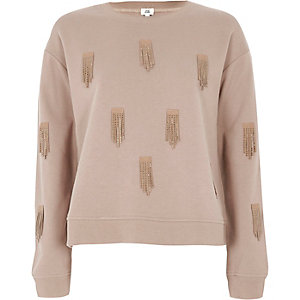 Sweat beige orné de sequins et franges