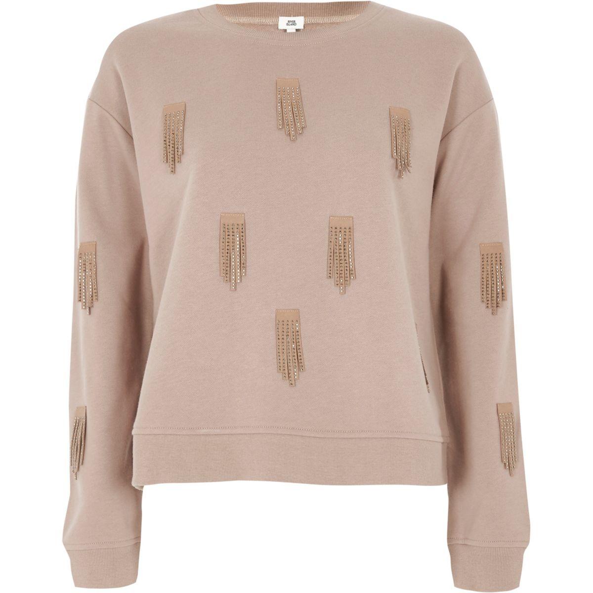 Beige Sweatshirt mit Paillettenverzierung