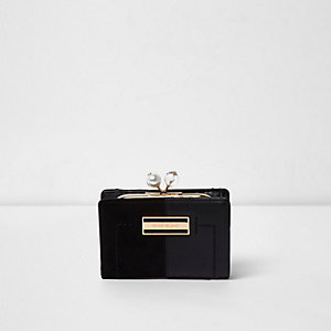 Mini porte-monnaie noir à plusieurs textures et fausses perles