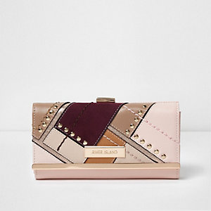 Pink cutabout panel studded clip top purse