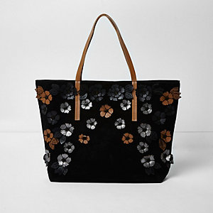 Black suede 3D flower tote bag