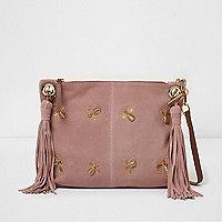 Pink bee embellished suede tassel bag