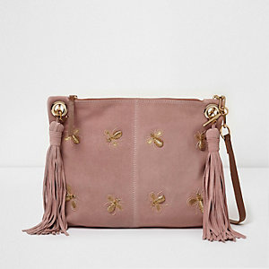Pink bee embellished suede tassel bag