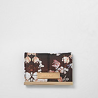 Black floral print travel card holder