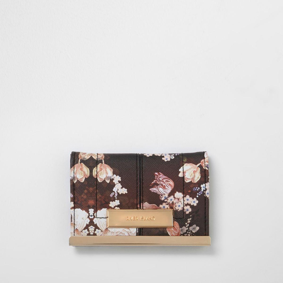 Black floral print travel card holder