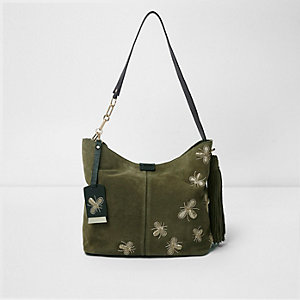Green suede bug jewel underarm slouch bag