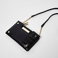 Black foldout cross body purse with pouch