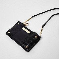 Porte-monnaie noir à rabat et bandoulière avec pochette