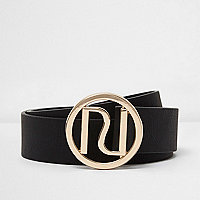 Black branded buckle jeans belt
