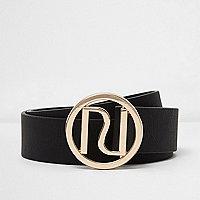 Zwarte jeansriem met gesp en logo