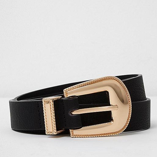 Black western buckle belt
