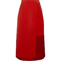 Red wrap high waisted midi skirt