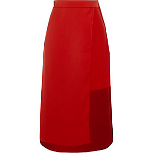 Jupe mi-longue rouge portefeuille taille haute