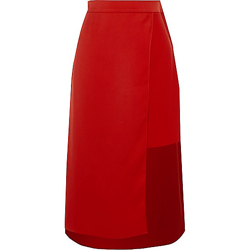 Red wrap high waisted midi skirt