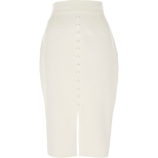 White button front high waisted pencil skirt