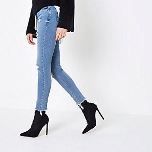 Mid blue ripped Alannah relaxed skinny jeans