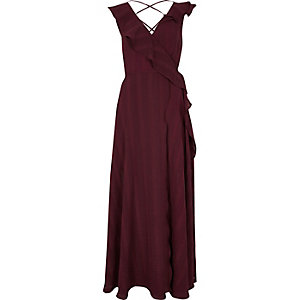 Burgundy stripe frill wrap maxi dress