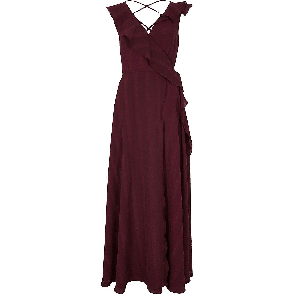 Burgundy stripe frill wrap maxi dress