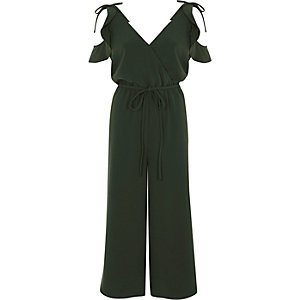Khaki frill cold shoulder culotte jumpsuit