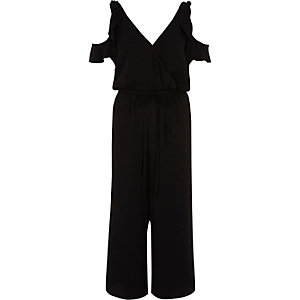 Black cold shoulder frill culotte jumpsuit
