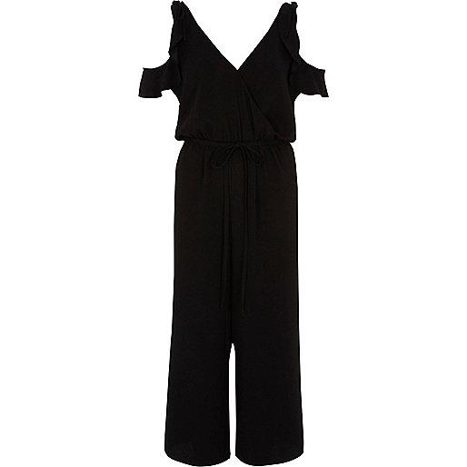 Black cold shoulder frill culotte jumpsuit