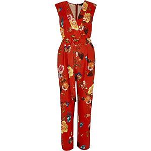 Rode mouwloze tailored jumpsuit met bloemenprint