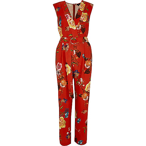 Red floral print sleeveless tailored jumpsuit