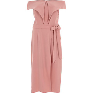 Nude bardot tie waist midi dress