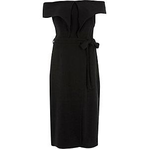 Zwarte midi-jurk met overslag en strikceintuur