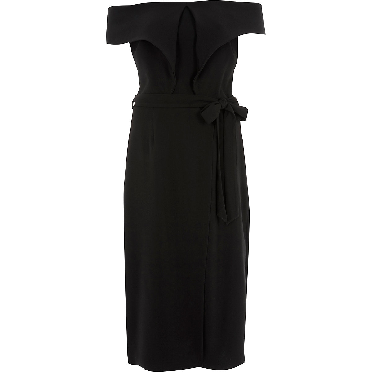 Black tie waist belt wrap midi dress