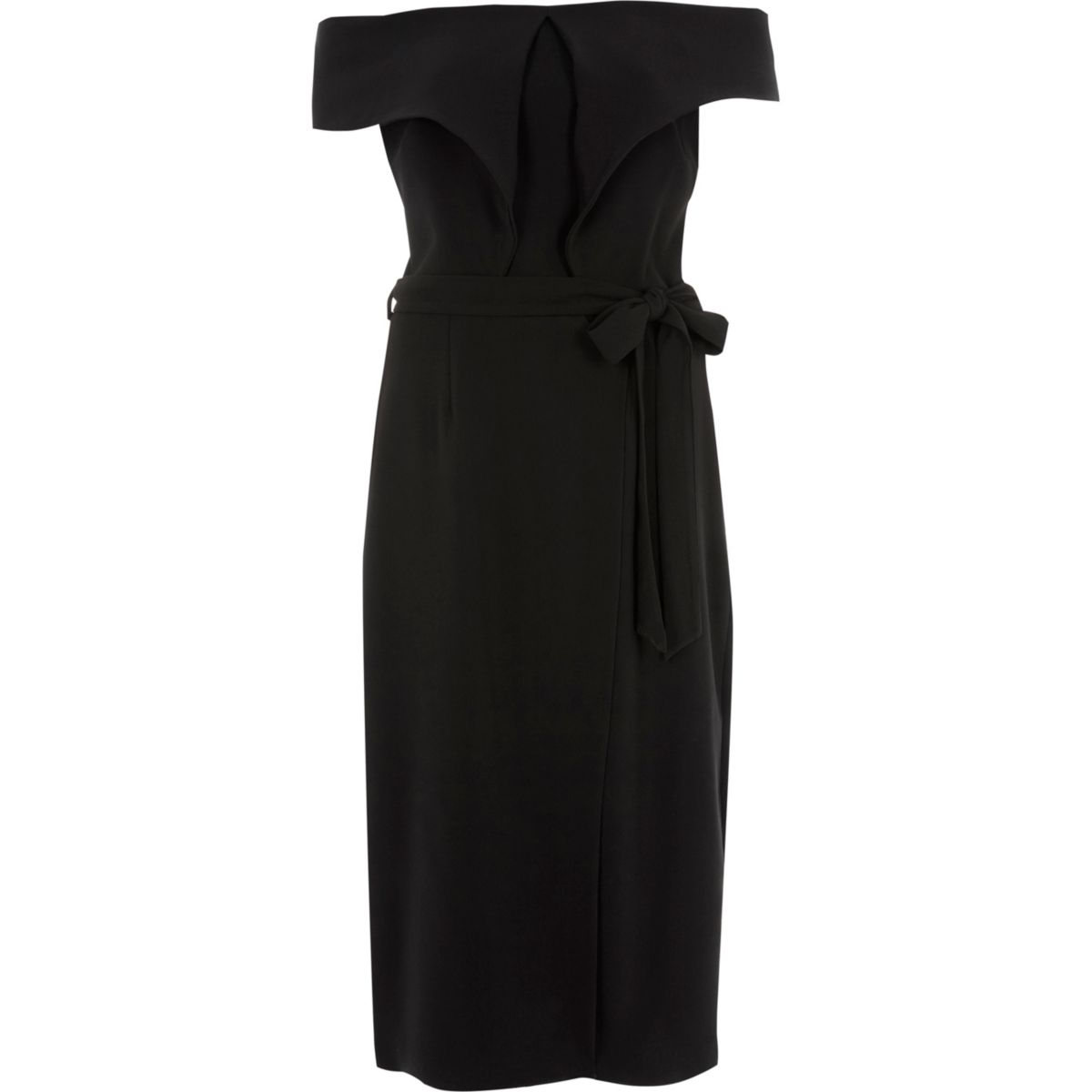Black tie waist belt wrap midi dress