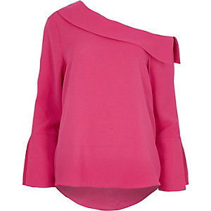 Pink one shoulder flared long sleeve top