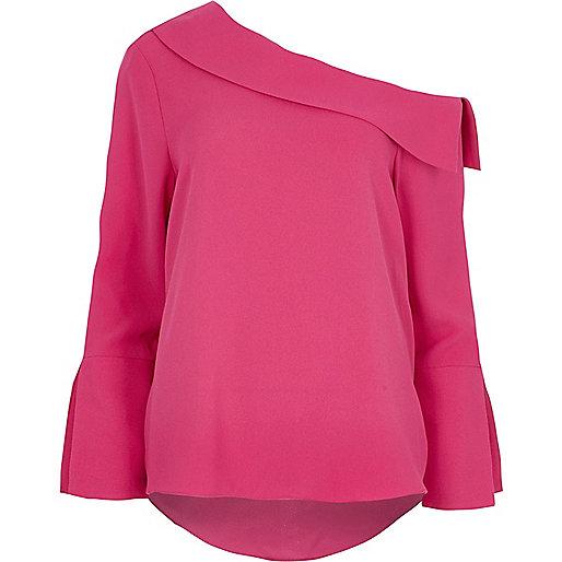 Pink one shoulder flared long sleeve top