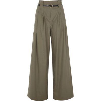 Kaki broek met hoge taille wijde pijpen en riem