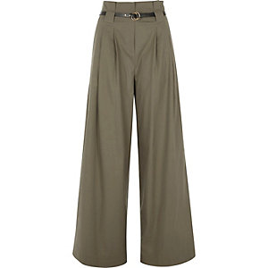 Pantalon large kaki à taille haute avec ceinture