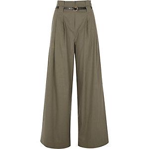 Kaki broek met hoge taille, wijde pijpen en riem