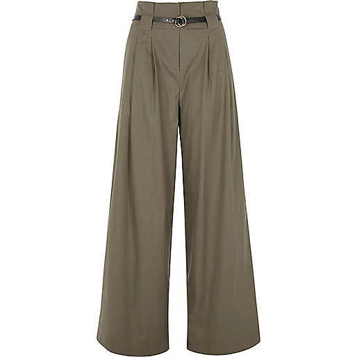 Khaki high waisted belted wide leg trousers