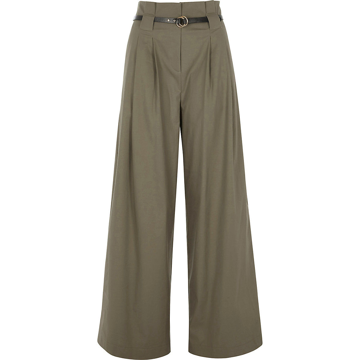 dc6bc944c9 Khaki high waisted belted wide leg trousers - Wide Leg Trousers - Trousers  - women