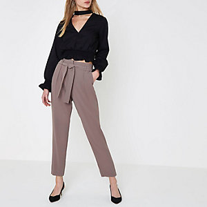 Dark grey tie waist tapered trousers