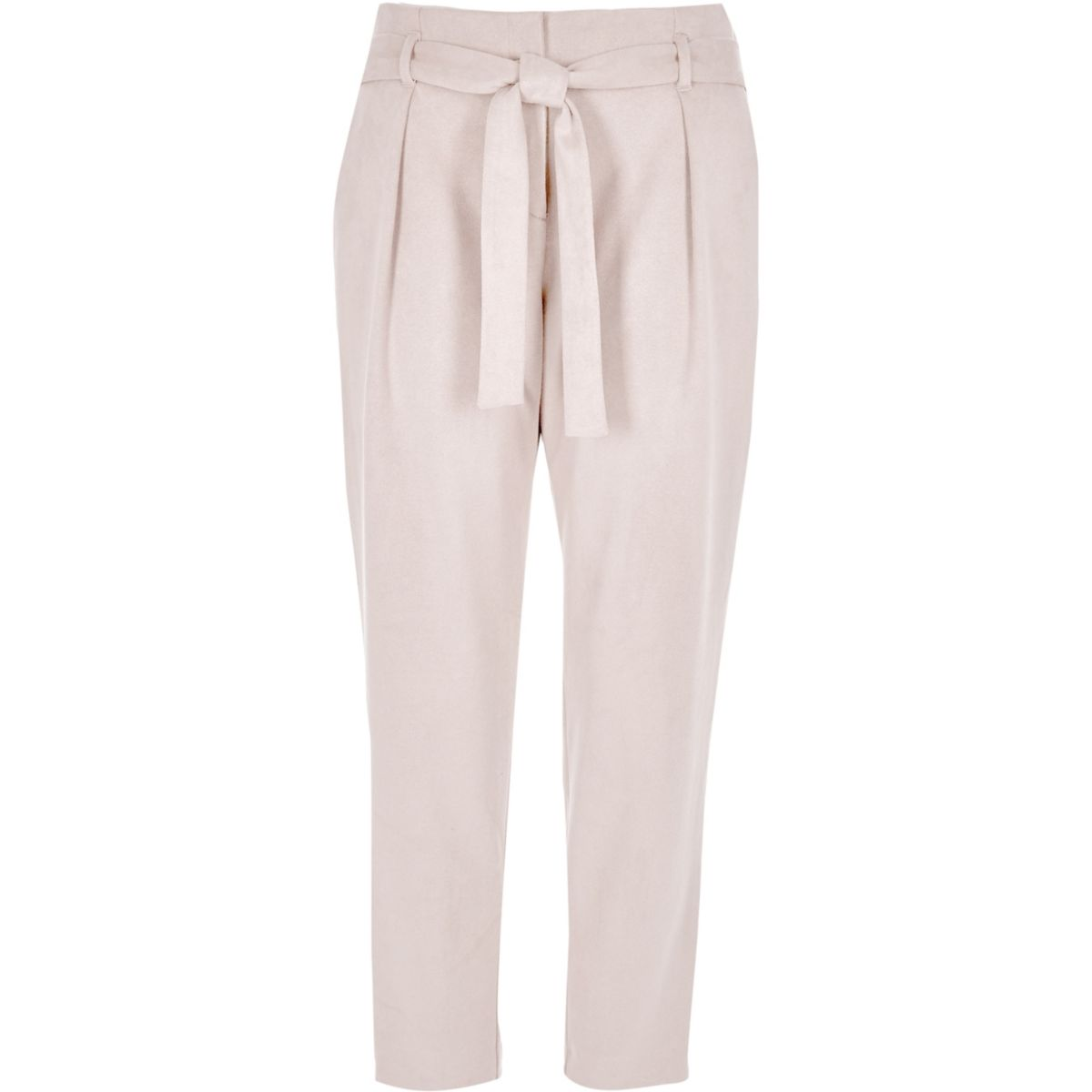 Grey faux suede tie waist tapered trousers