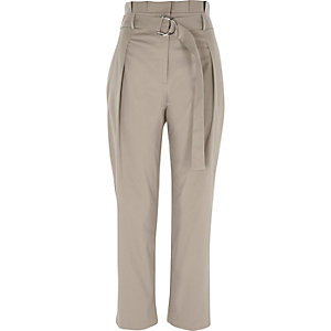 Grey high waisted D ring tapered pants
