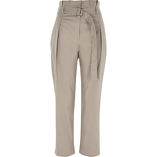Grey high waisted D ring tapered trousers