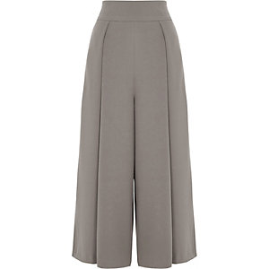 Grey front pleat high waisted culottes