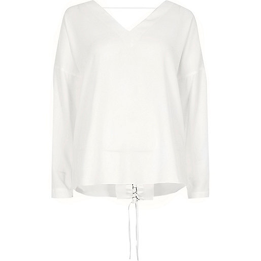 Cream lace-up back long sleeve top